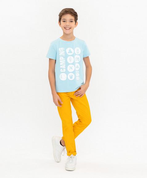 Голубая футболка с принтом