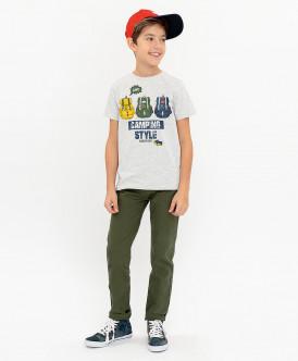 Купить 120BBBC12021900, Серая футболка с принтом Button Blue, серый, 98, Мальчики
