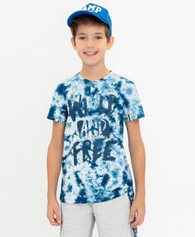 Синяя футболка с принтом Button Blue