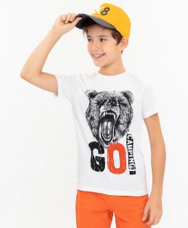 Белая футболка с принтом 120BBBC12050200 фото