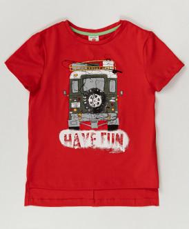 Красная футболка с принтом Button Blue