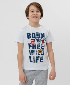 Белая футболка с удлиненной спинкой Button Blue