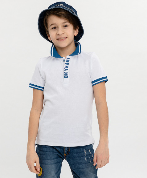 Белое поло с принтом Button Blue