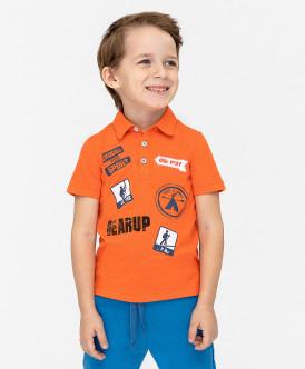 Оранжевое поло с принтом 120BBBC14036200 фото