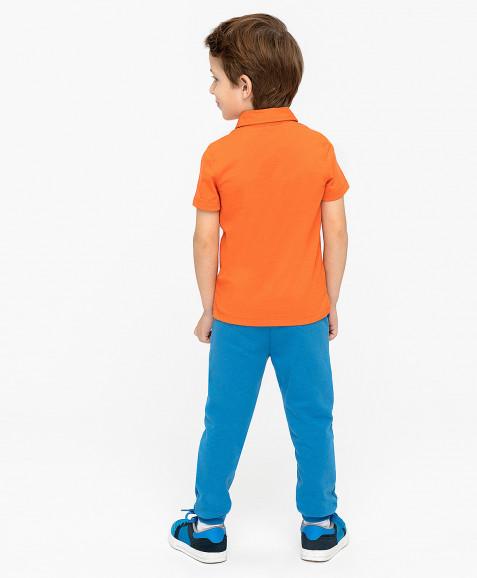 Оранжевое поло с принтом