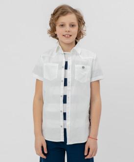 Белая рубашка с коротким рукавом 120BBBC23020200 фото