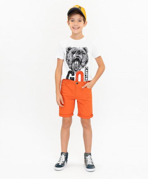 Оранжевые твиловые шорты Button Blue