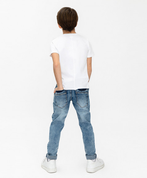 Голубые джинсы Slim Fit Button Blue