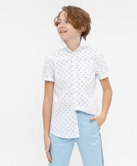 Белая нарядная рубашка с коротким рукавом 120BBBP23040213 фото