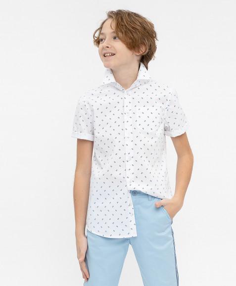 Белая нарядная рубашка с коротким рукавом