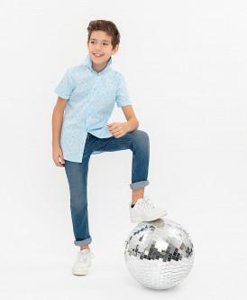 Голубая нарядная рубашка с коротким рукавом 120BBBP23041813 фото