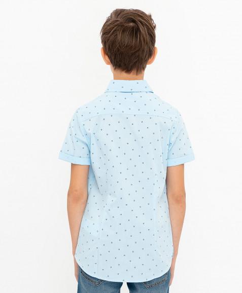 Голубая нарядная рубашка с коротким рукавом