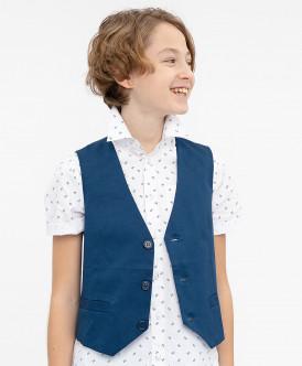 Синий нарядный жилет Button Blue