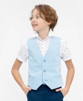 Голубой нарядный жилет Button Blue