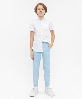 Голубые нарядные брюки Button Blue
