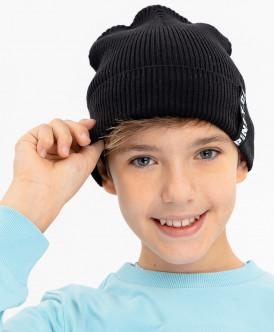 Черная вязаная шапка Button Blue