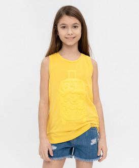 майка button blue для девочки, желтая