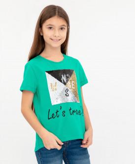 Зеленая футболка с удлиненной спинкой 120BBGC12024800 фото