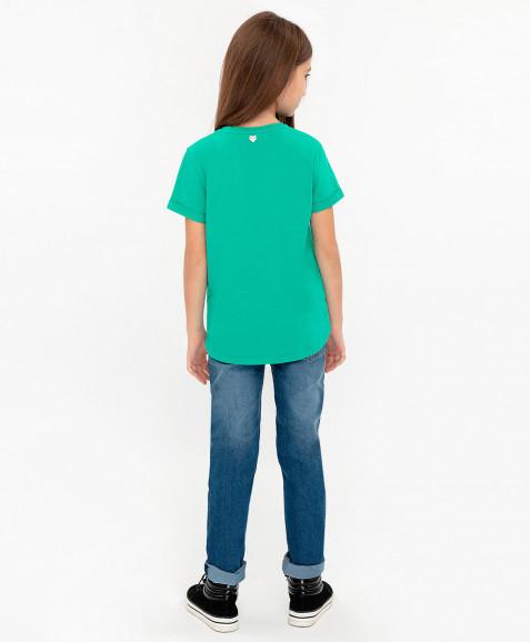 Зеленая футболка с удлиненной спинкой