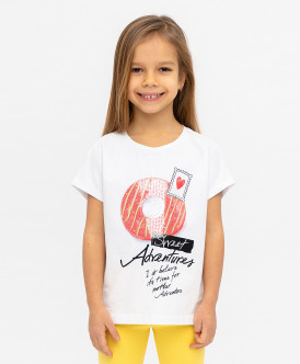 Белая футболка с пайетками 120BBGC12040200 фото