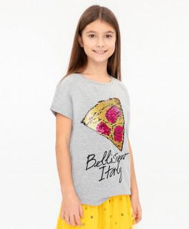 Серая футболка с пайетками 120BBGC12041900 фото