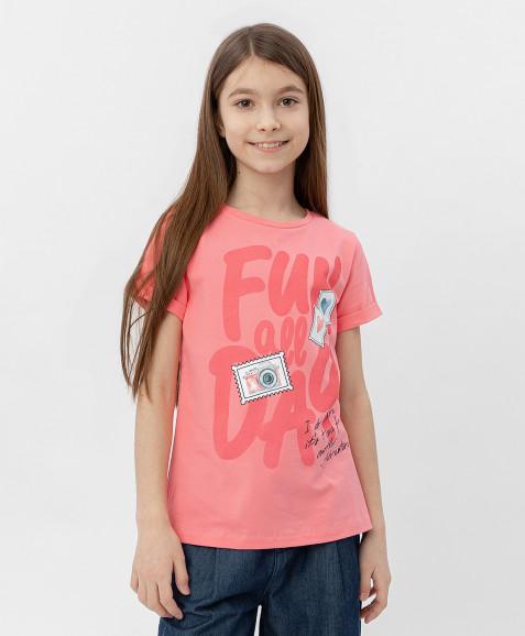 Розовая футболка с коротким рукавом