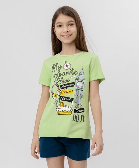 Салатовая футболка с коротким рукавом