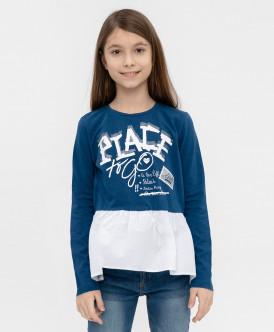 Синяя футболка с баской 120BBGC12111002 Button Blue фото
