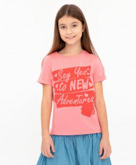 Розовая футболка с принтом 120BBGC12121200 фото