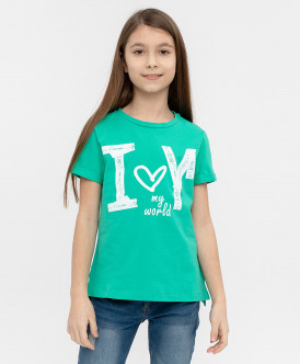 Зеленая футболка с принтом