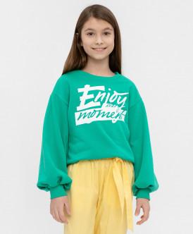 толстовка button blue для девочки, зеленая