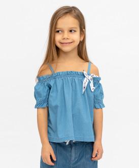 блузка button blue для девочки, голубая
