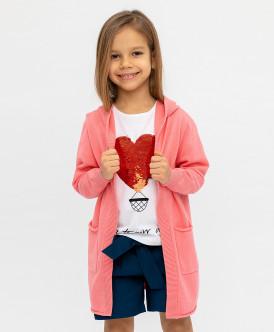 Розовый кардиган с капюшоном Button Blue