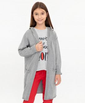 кардиган button blue для девочки, серый