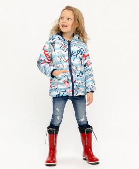 куртка button blue для девочки, голубая