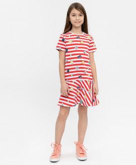 Купить 120BBGC50023505, Платье в полоску Button Blue, красный, 122, Девочки