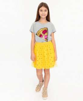Желтая юбка в горошек 120BBGC55012704 фото