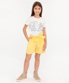 Желтые шорты с поясом 120BBGC60012700 фото