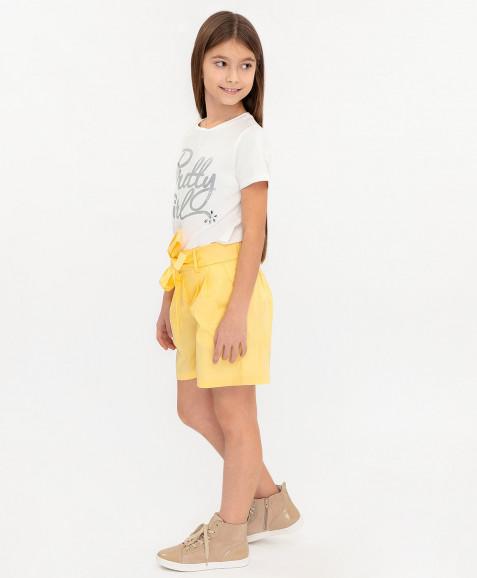 Желтые шорты с поясом