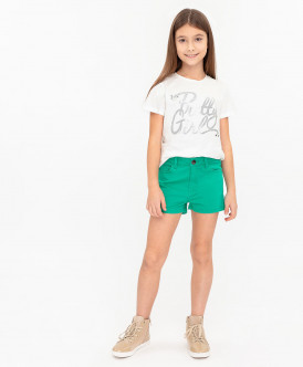 Зеленые твиловые шорты 120BBGC60024800 фото