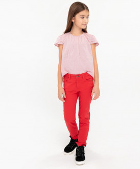 Красные твиловые брюки Button Blue