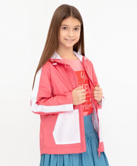 Розовая ветровка с капюшоном
