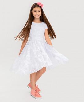 """Белое платье с орнаментом """"Розы"""" Button Blue"""