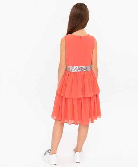 Коралловое нарядное платье