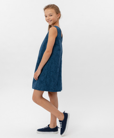 Синее жаккардовое платье