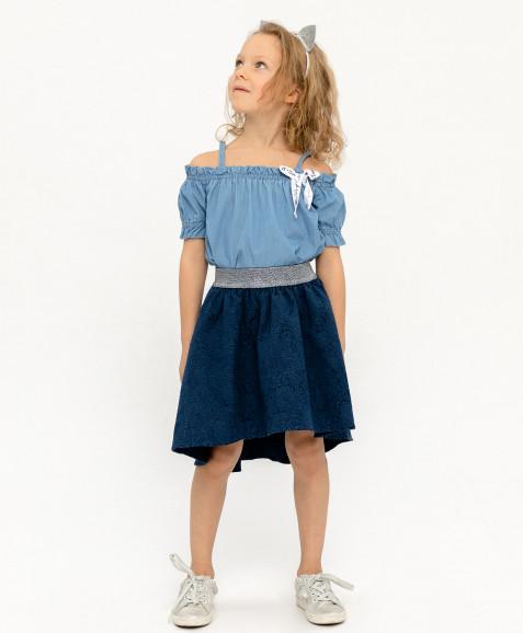 Синяя жаккардовая юбка на резинке