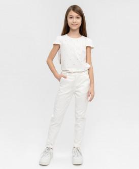 Белые жаккардовые брюки 120BBGP63010200 фото