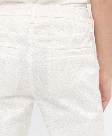 Белые жаккардовые брюки