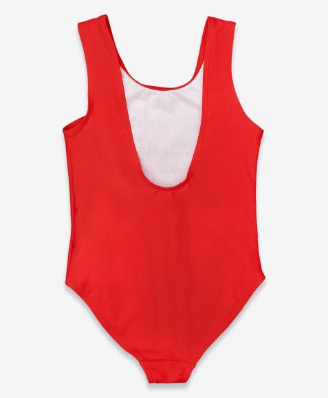 Красный купальник с принтом