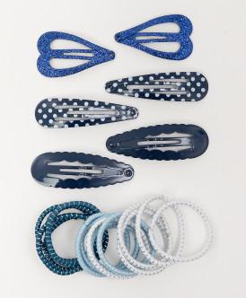 Комплект резинок и заколок для волос, 21 шт. Button Blue